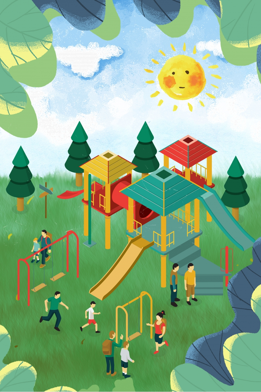 Gambar Ilustrasi Taman Bermain Gambar Perayaan Hari Kanak Kanak Taman Permainan Lapisan Jpa