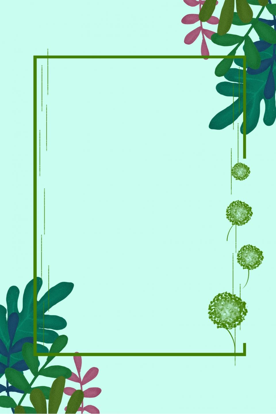 Simple, green, fresh, art, flowers, foliage, borders ... |Green Flower Border