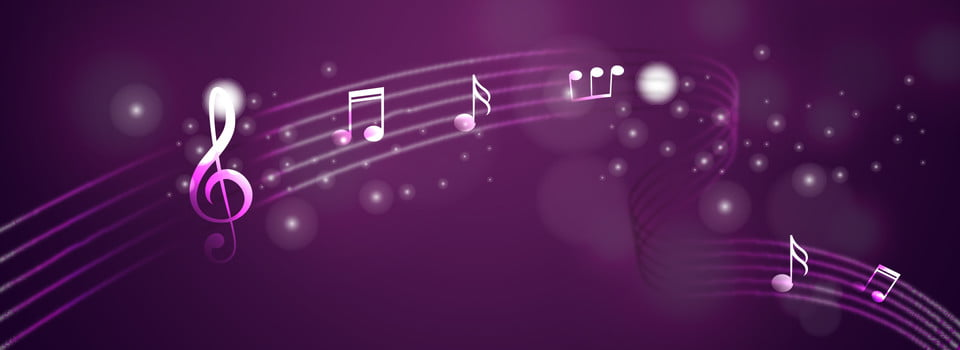 Purple Minimalistic Glare Music Notes Banner Background ...