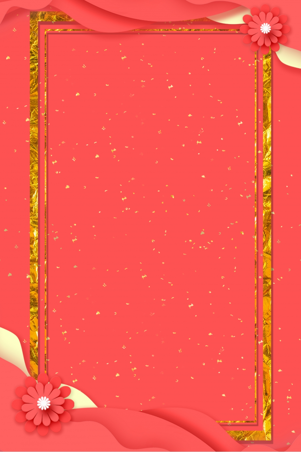 red wedding background with golden border gold fashion