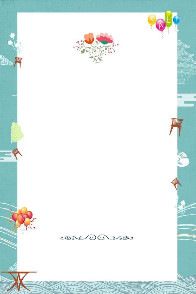 Simple Green Floral Background Illustration Border Fresh