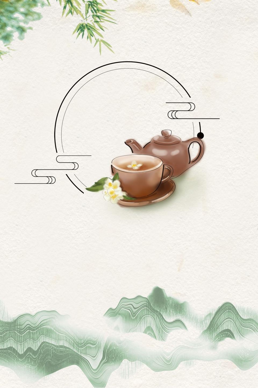 الرجعية النمط الصيني حفل الشاي خلفية الحبر مجموعة الشاي الرجعية حفل الشاي صورة الخلفية للتحميل مجانا