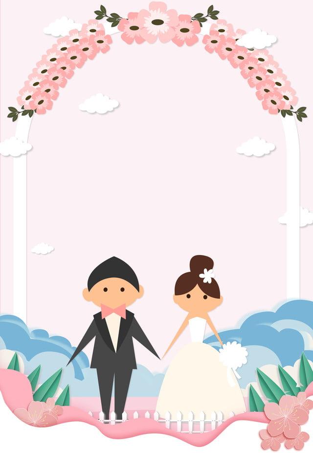 Wedding Fair Cute Cartoon Flat Pink Background Wedding Fair