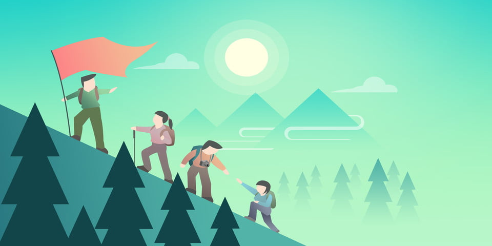 Cartoon Flat Outing Mountain Climbing Poster Background Cartoon Flat Wind Mountain Climbing Background Image For Free Download