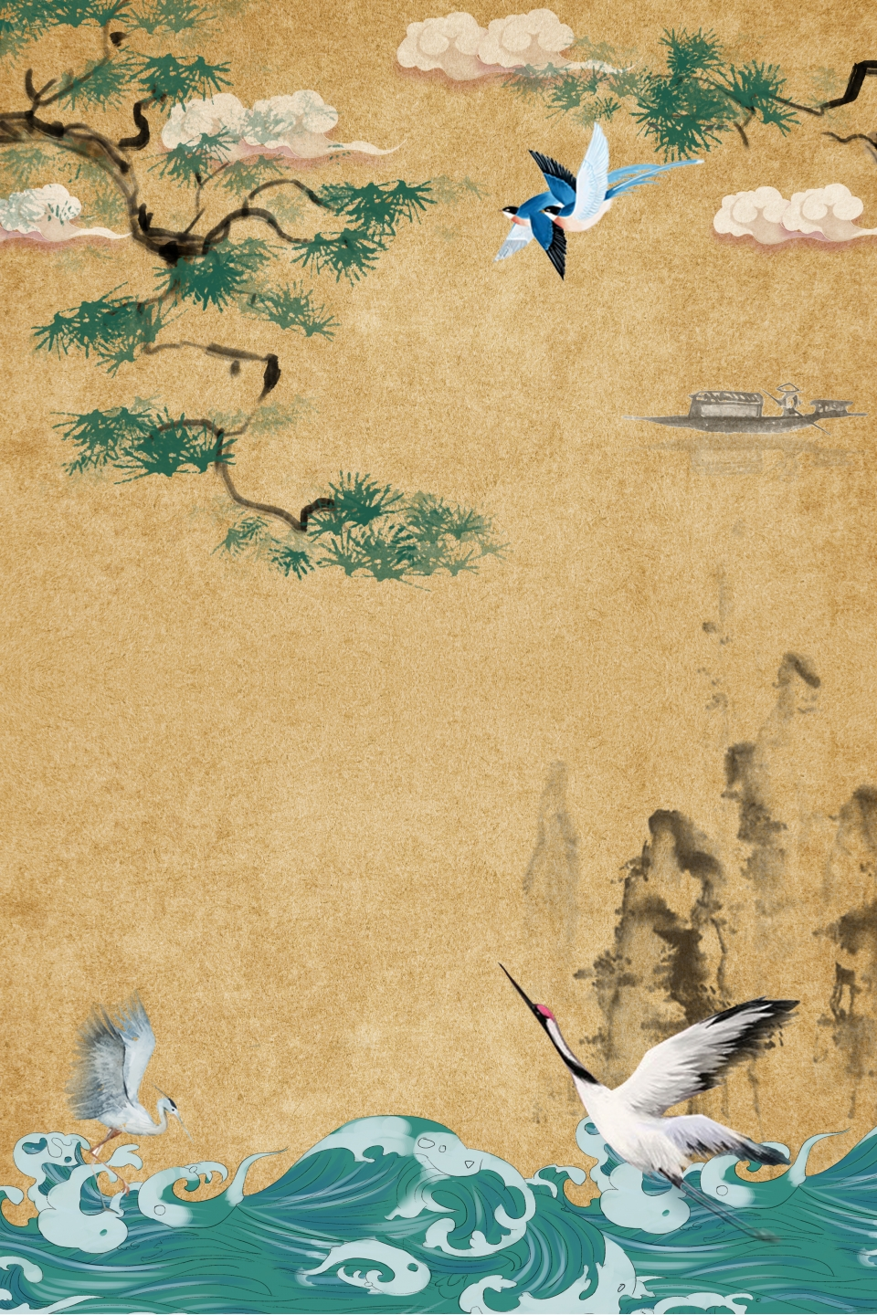 Meticulous Painting Classical Chinese Painting Chinese Style Pine Tree Branch Ostrich River Classical Chinese Style Auspicious Clouds Background Image For Free Download