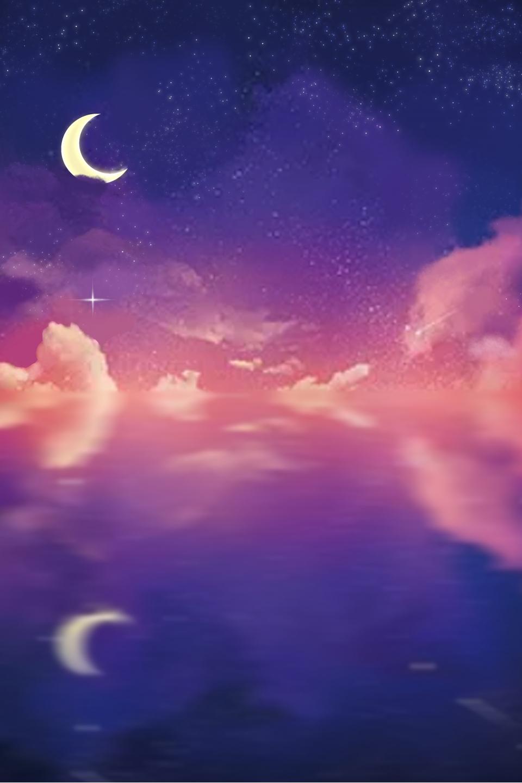 Purple Blue Dreamy Night Background Illustration, Purple, Blue ...