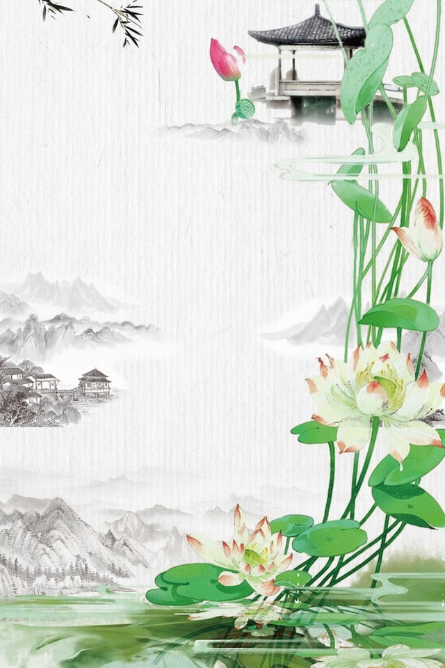 Beautiful Retro Ink Landscape Painting Pavilion Lotus Carp Chinese