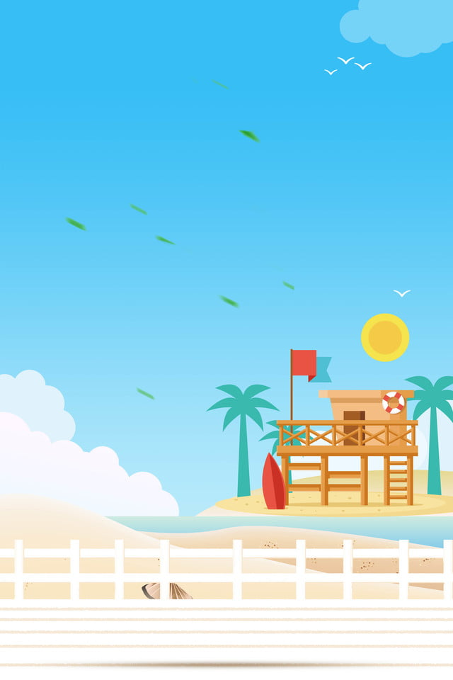 Cartoon Beach Background Poster Beach Summer Vacation Summer Background Image For Free Download