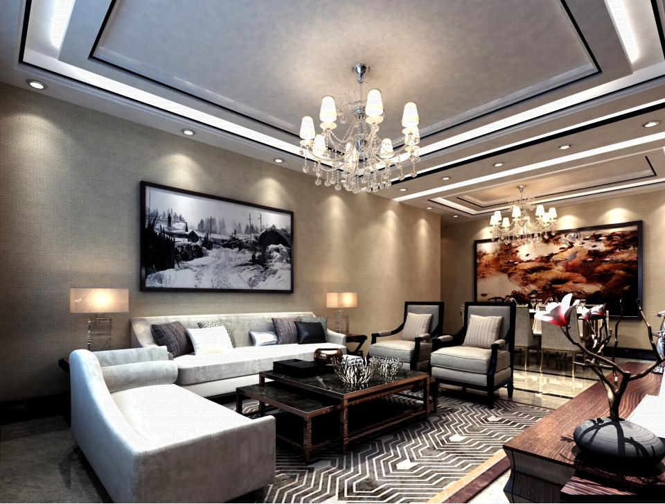 New Chinese Style Living Room Design Classical Dignified Elegant Background Image For Free Download
