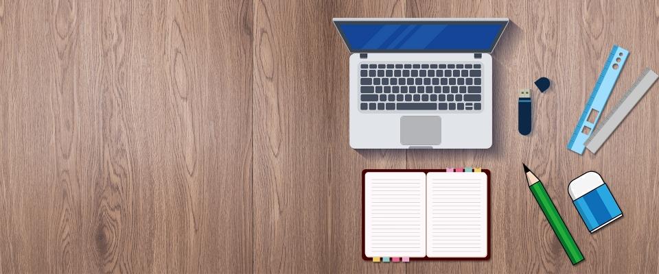 Office Stationery On The Desktop Flat Education Office