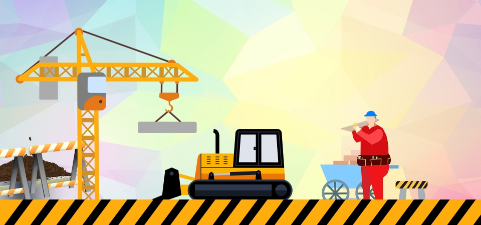 Simple Cartoon Site Safety Education Publicity Background Simplicity Cartoon Construction Site Background Image For Free Download