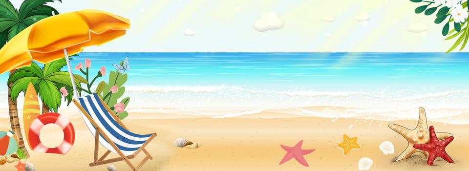 Summer Beach Scene Background Banner