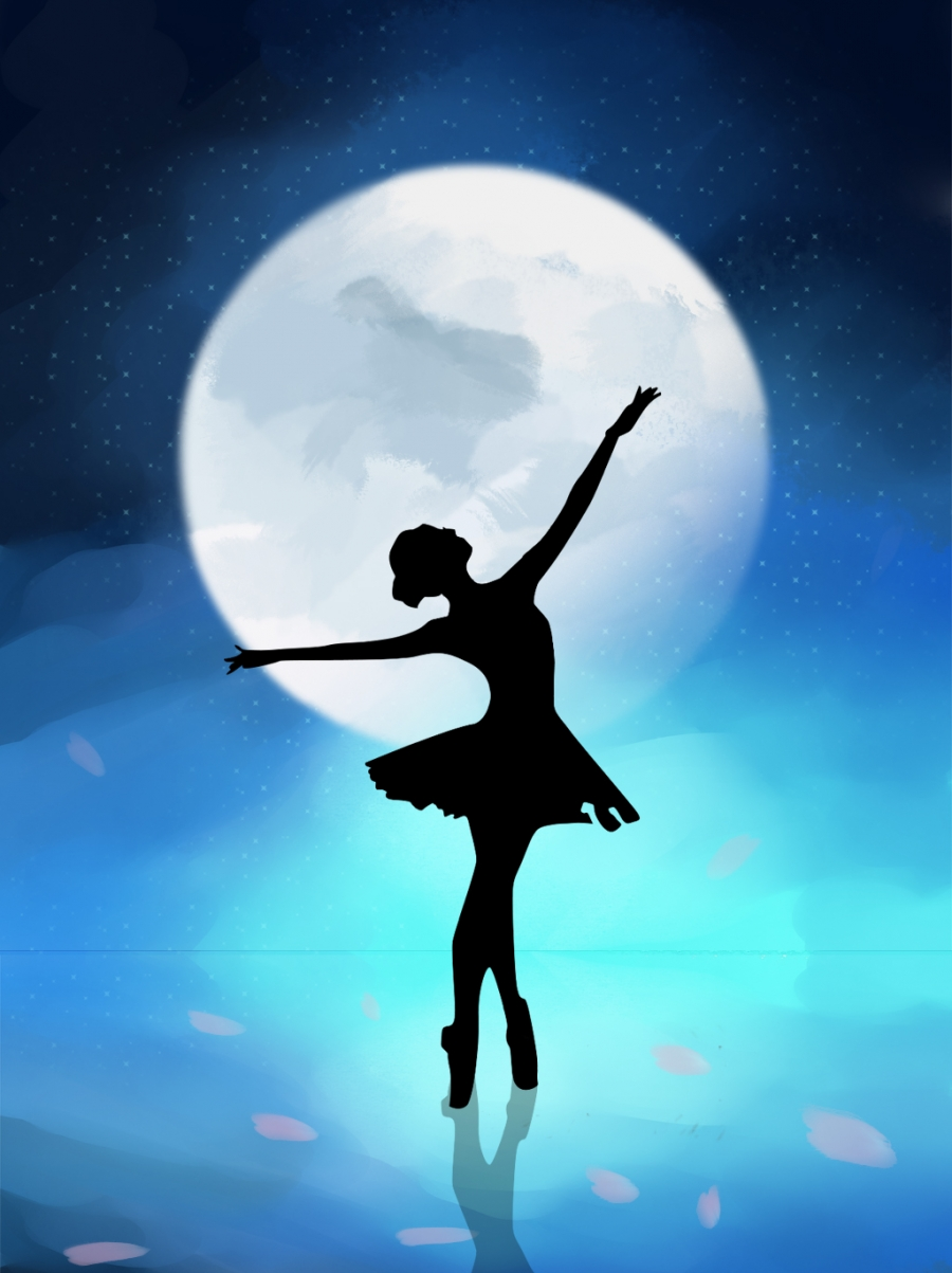 Beautiful Starry Sky Ballet Dance Girl Background Starry Sky Dance Dancing Girl Background Image For Free Download