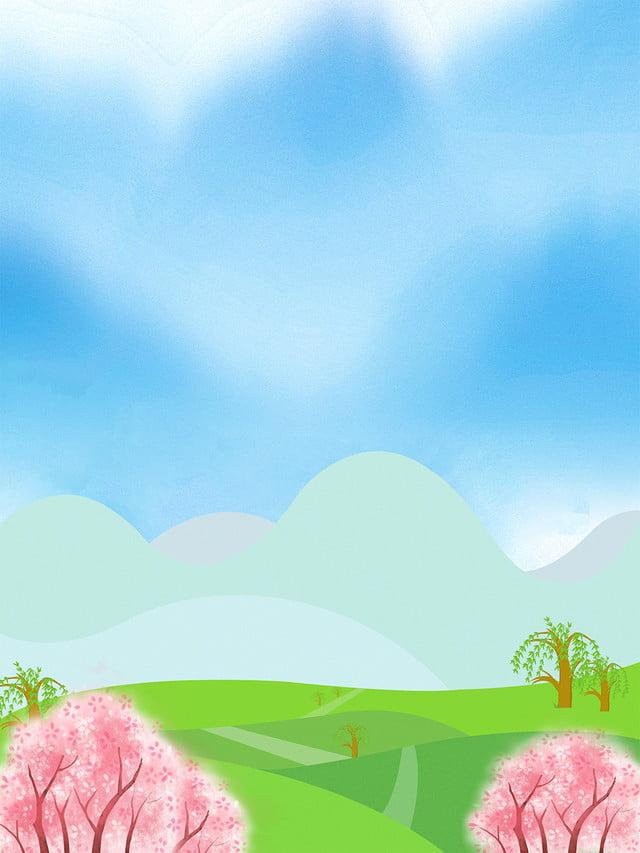 無料ダウンロードのための漫画手描き緑植物風景イラスト背景 イラスト背景 植物の背景 綺麗なの背景画像