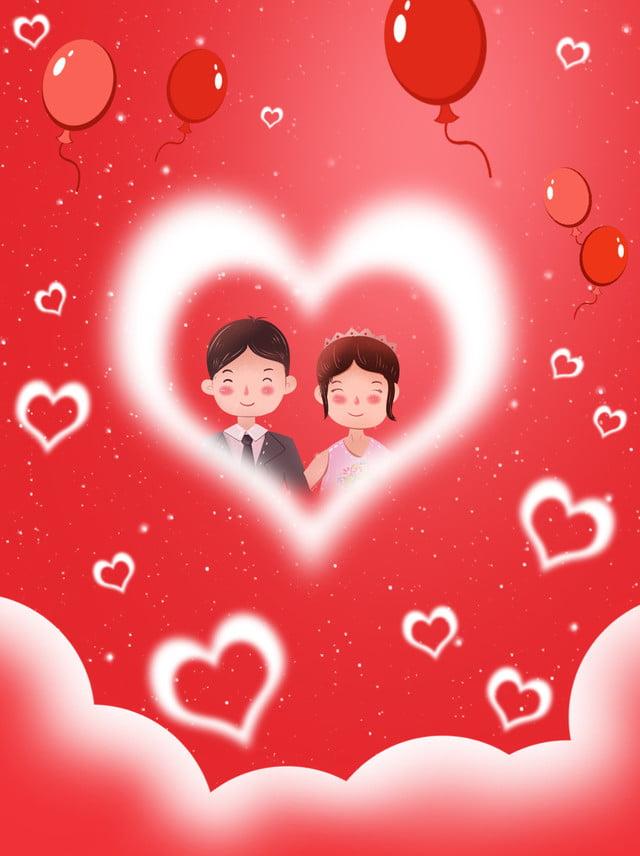 Couple Fond Fond Damour Wechat Avatar Dessin Animé Mignon