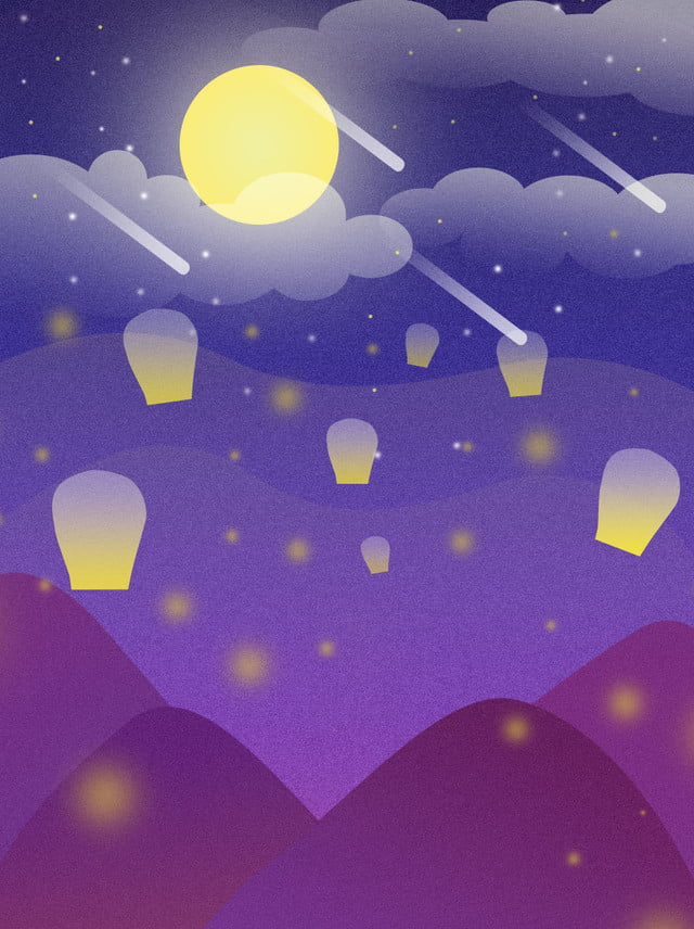 Creative Aesthetic Blue Blue Purple Night Lights Gradient Scene Background Flat Beautiful Moon Background Image For Free Download