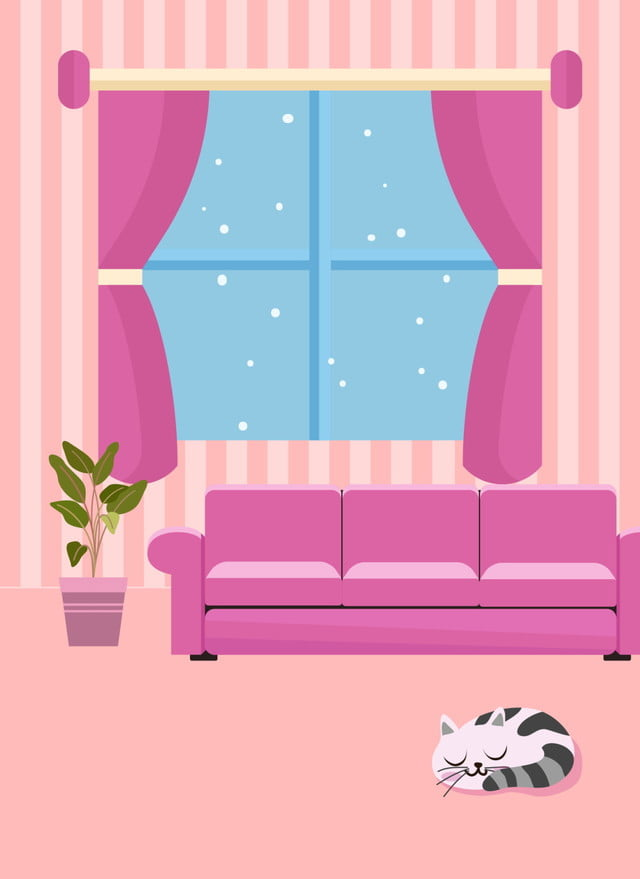 Cute Cartoon Home Living Room Illustration Background Cozy Background Interior Illustration Universal Background Background Image For Free Download