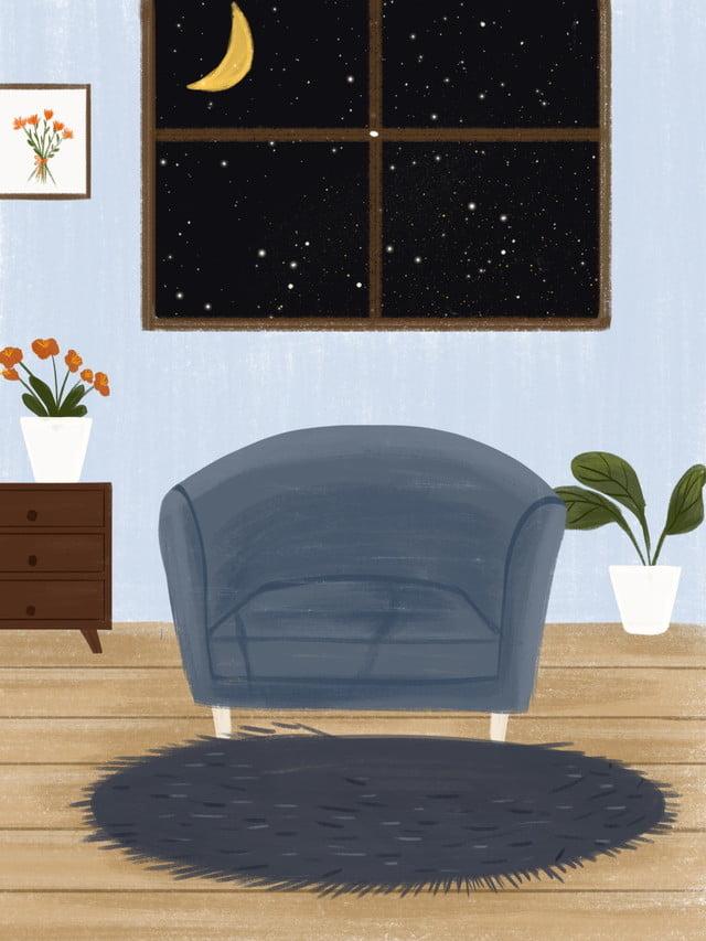 Cute Cartoon Home Living Room Illustration Background Cozy