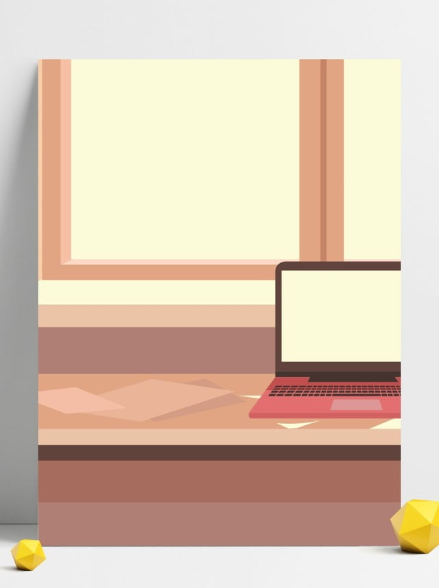 Cute Cartoon Home Office Illustration Background Office
