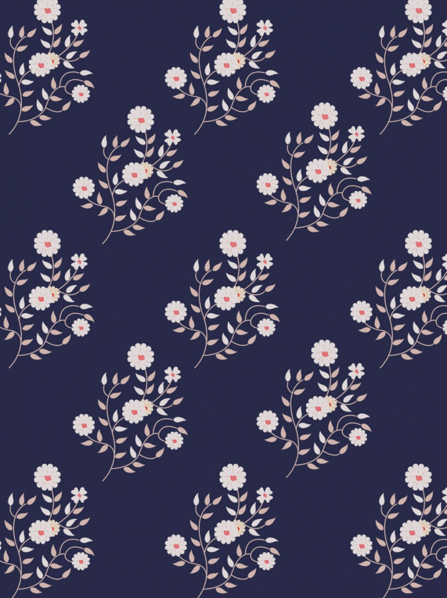 Dark Blue Romantic Style General Class Tiled Floral Background