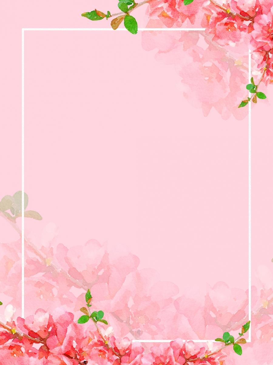 Full Original Watercolor Flowers Peach Border Background