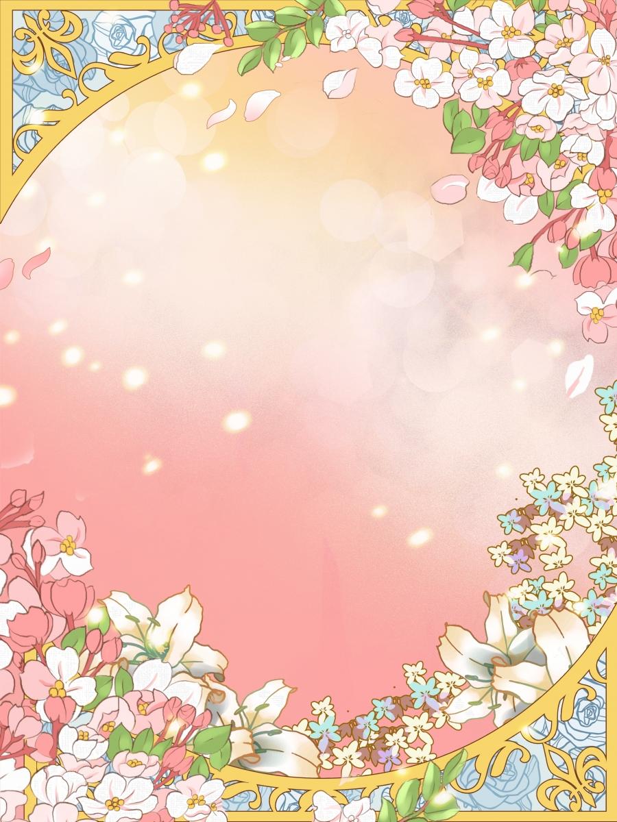 Hand Drawn Flower Border Background Design Flower Petal