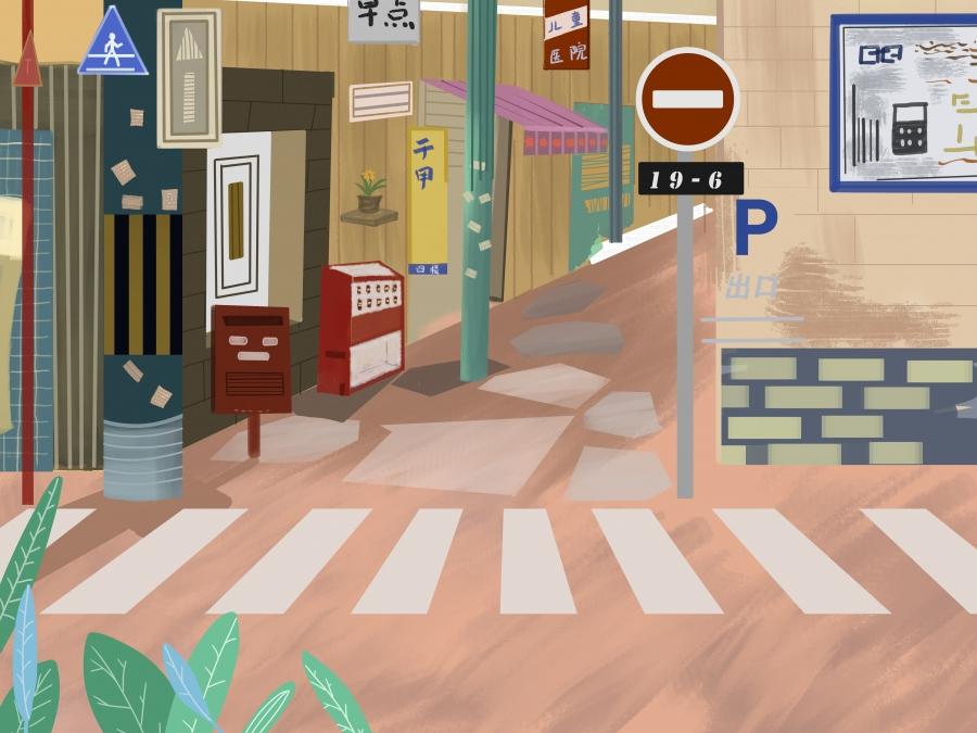 Hand Drawn Zebra Crossing Background Design, City, Traffic