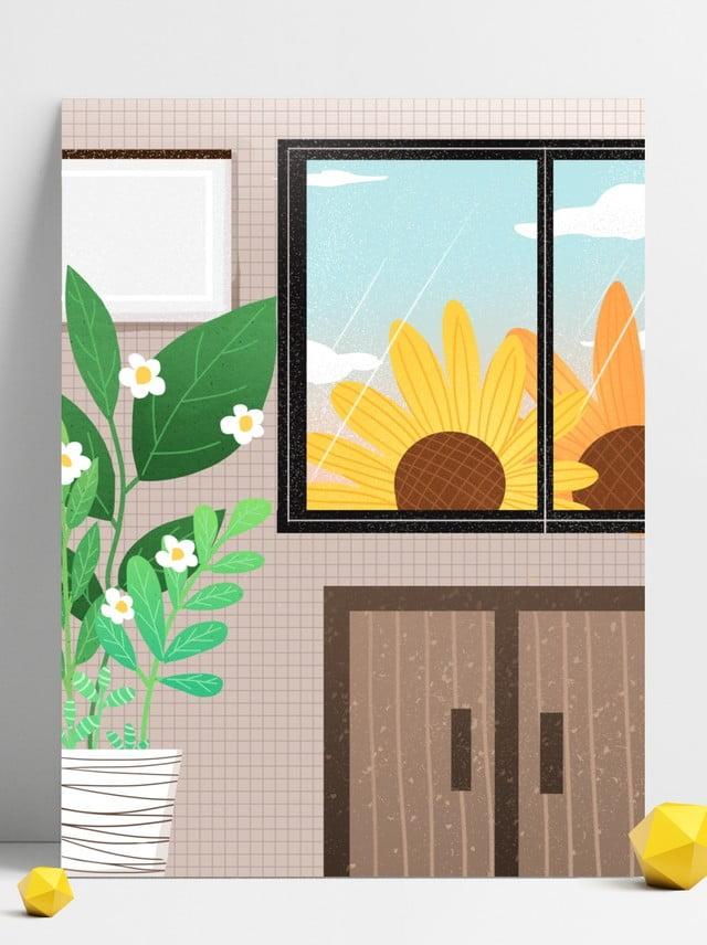 Intérieur Maison Dessin Animé Couleur Simple Conception