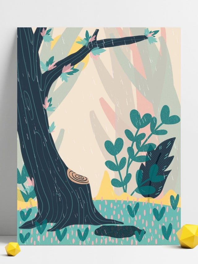 無料ダウンロードのための北欧 植物 フォレスト 漫画 ポスターの背景