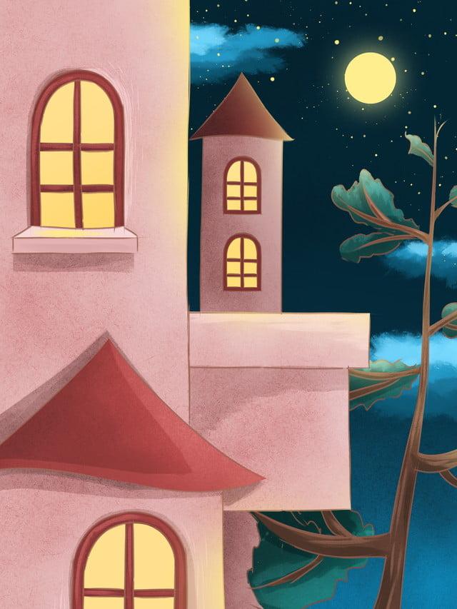 Painted Cartoon House Good Night Background Design Good
