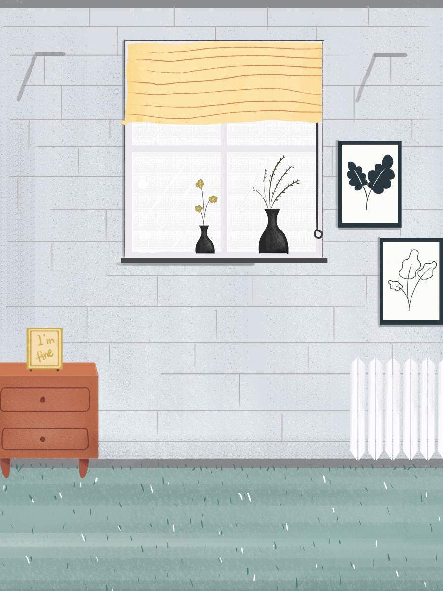 Simple Home Interior Potted Mural Background Design Bedside