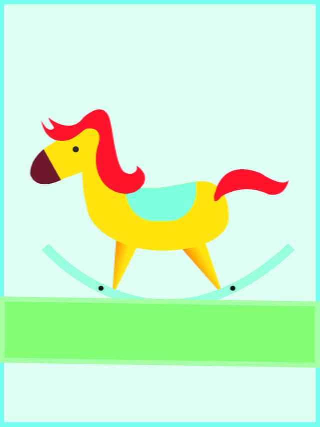 Vector Material Hand Drawn Wooden Horse Background Card Happy