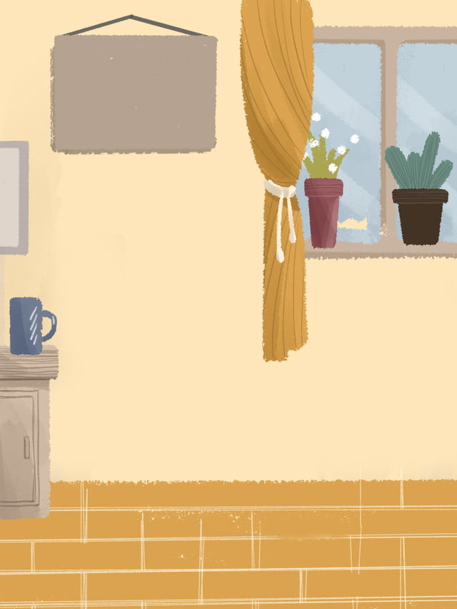 Excellent Yellow Cartoon Hand Drawn Cozy Home Illustration Background Interior Design Ideas Gresisoteloinfo