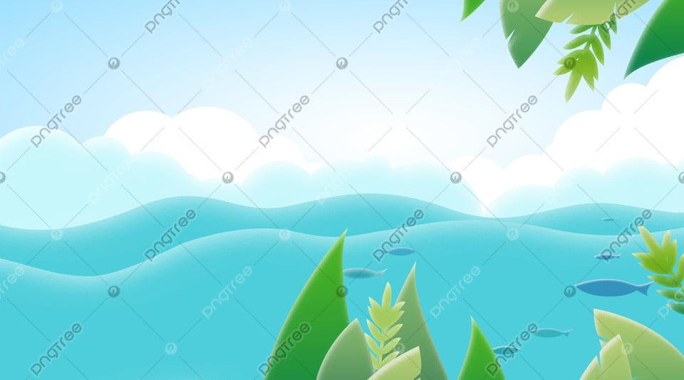 無料ダウンロードのための青い新鮮な風リバーサイド風景イラスト背景 イラスト背景 植物の背景 綺麗なの背景画像