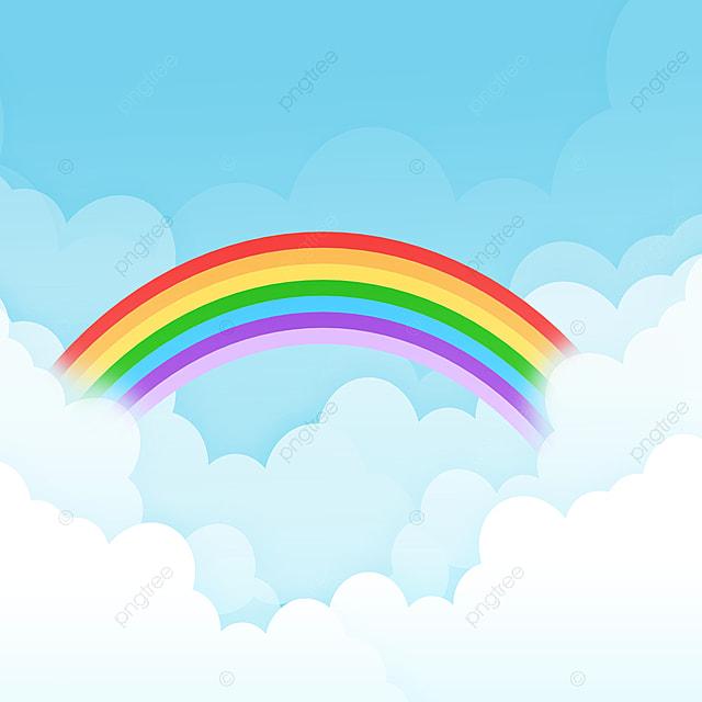 السماء الأصلية الخيال سحابة خلفية قوس قزح خلفيات كرتون خلفية الغيوم قوس قزح الخلفية صورة الخلفية للتحميل مجانا