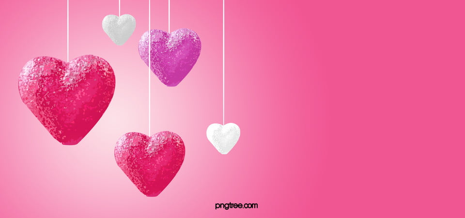 Pink Love Background Pink Heart Decoration Background