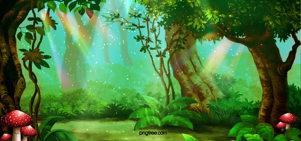 cartoon background, Cartoon, Forest, Mushroom Background Image for Free Download