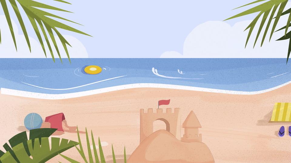Cartoon Ilustración De Fondo De Playa Fondo De Dibujos