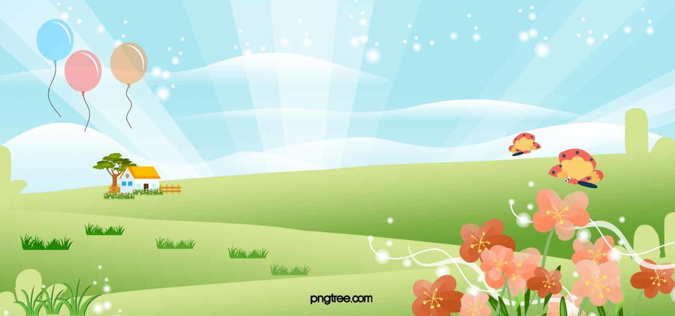 Romantic Spring Meadow Flowers Cartoon Butterfly Vector