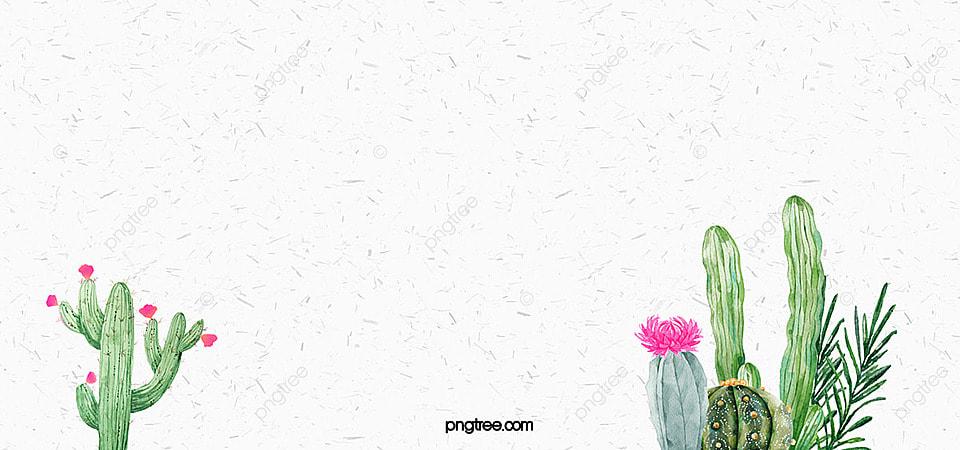 Literary Fresh Handpainted Watercolor Background Cactus