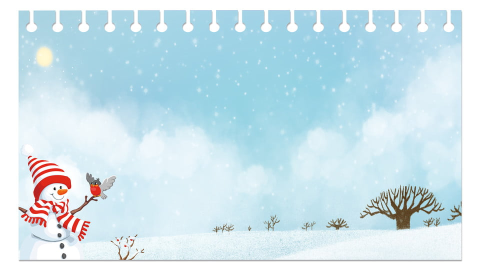 Simple Cute Snowman Snowy Background