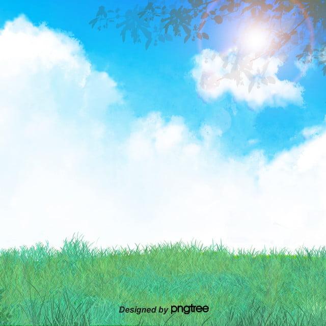 Il Prato Verde Di Alberi Sullo Sfondo Di Cielo Azzurro Verde Il