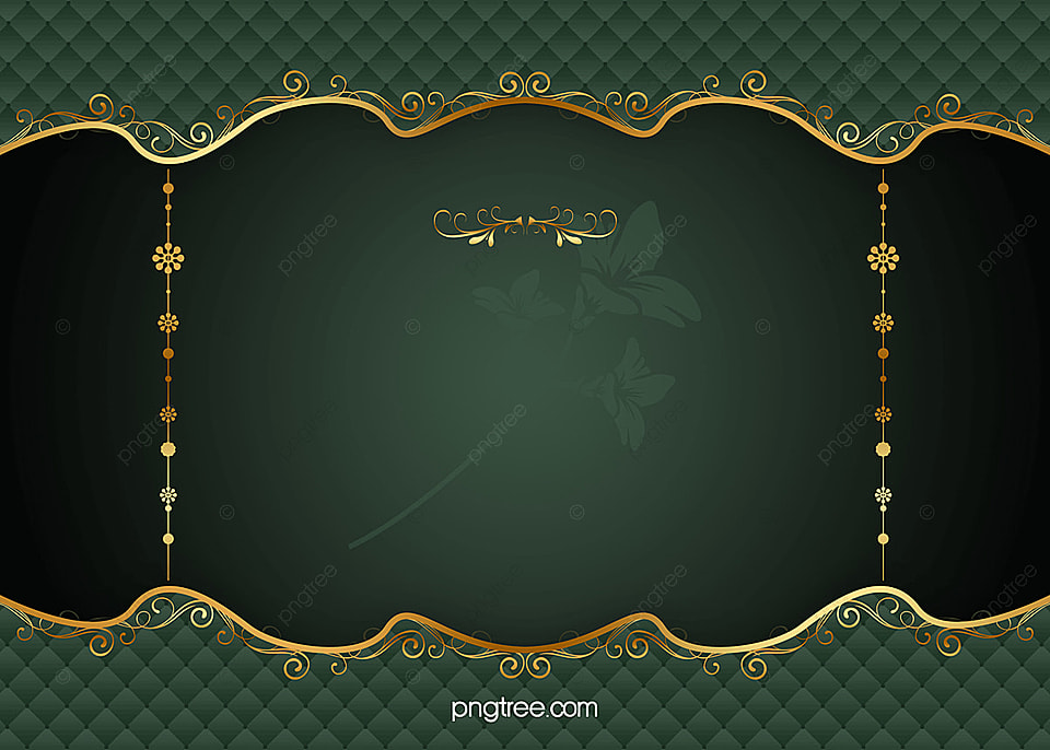 Green Gold Frame Vector European Pattern Background Vector Green