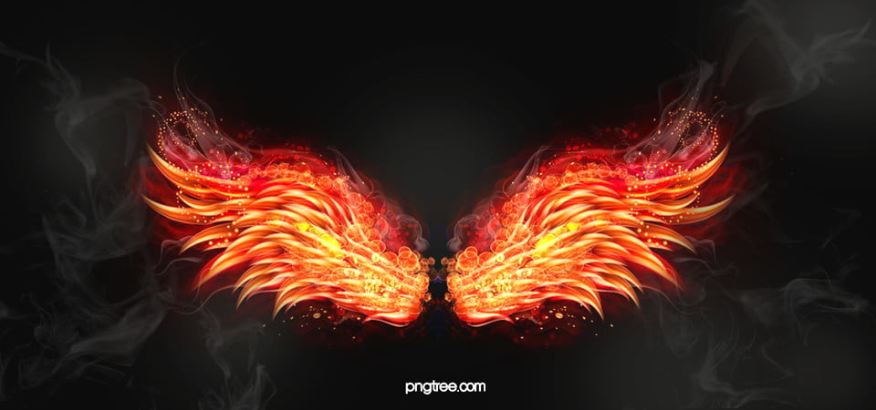 Electronics Background Flame Wings Golden Poster Banner