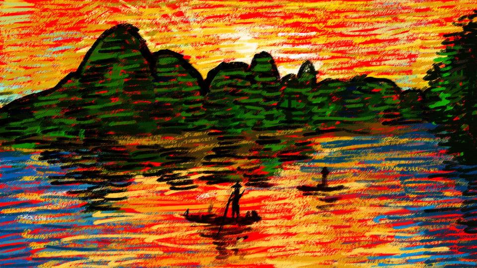 870 lukisan pemandangan sunset di pantai Terbaik