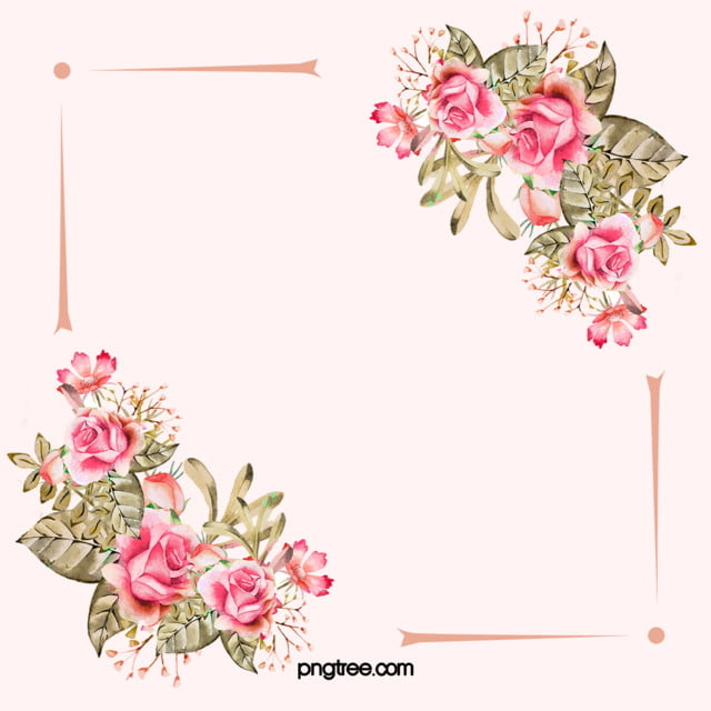 Vector Watercolor Painted Pink Wedding Flowers Border
