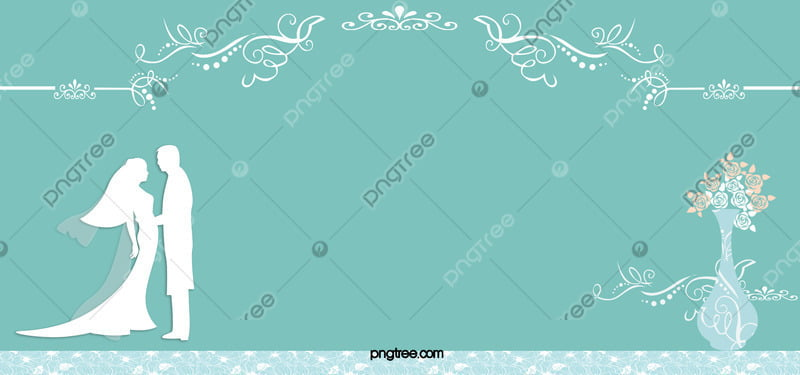 Blue Wedding Invitation Card Vector Background Blue Bride Groom