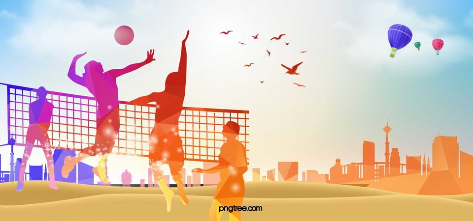flat silhouette volleyball game sport background material