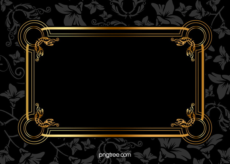Black Gold Frame Pattern Background Material Black Pattern Gold