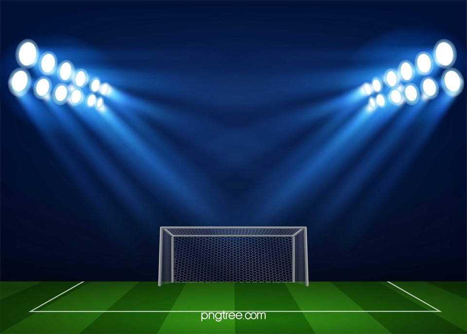 Soccer Football On Green Field With Blue Sky Background: Light Soccer Field Sports Background Material, Light